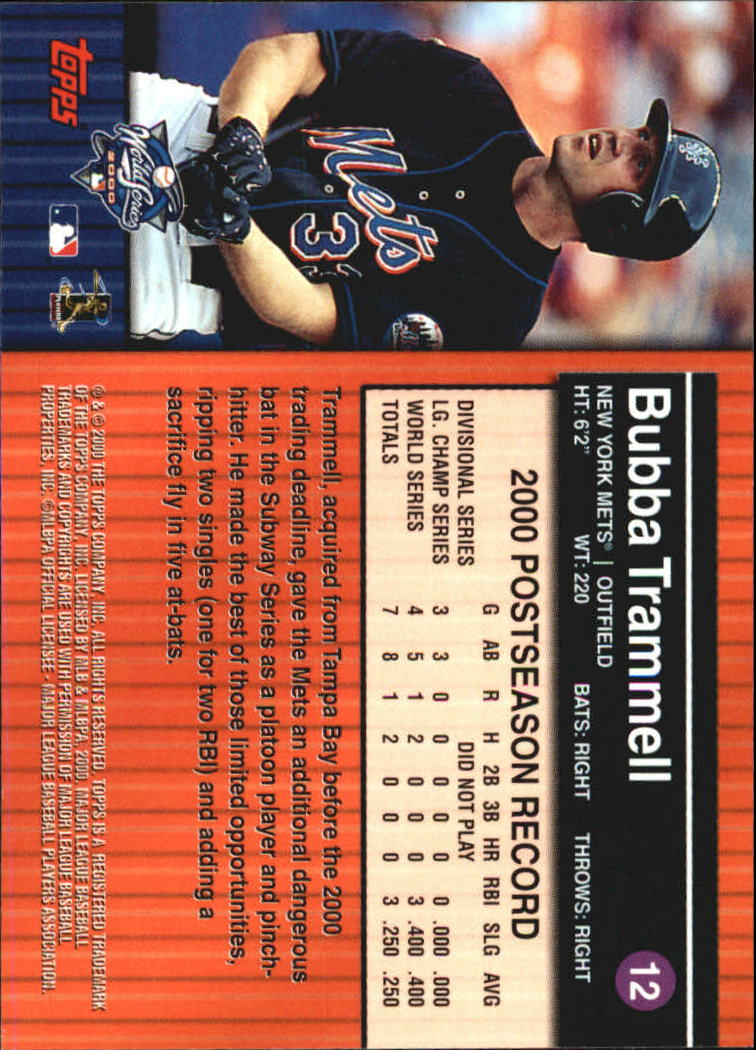 2000 Topps Subway Series #12 Bubba Trammell back image