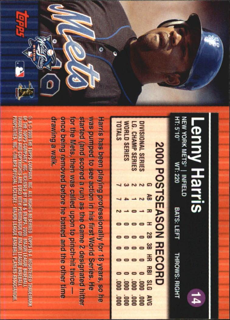 2000 Topps Subway Series #14 Lenny Harris back image