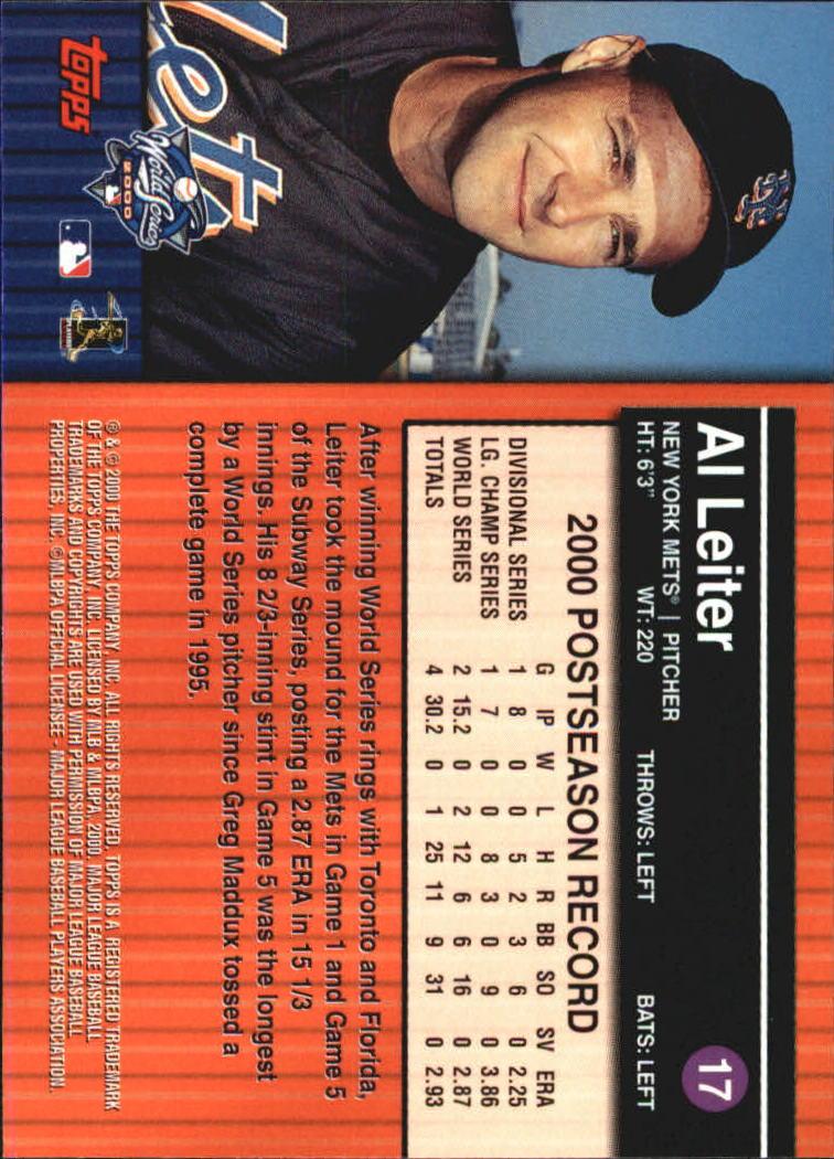 2000 Topps Subway Series #17 Al Leiter back image
