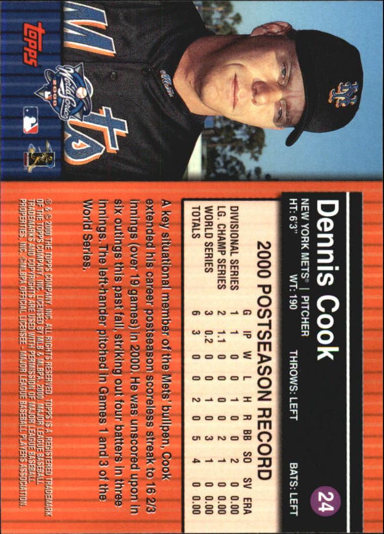 2000 Topps Subway Series #24 Dennis Cook back image