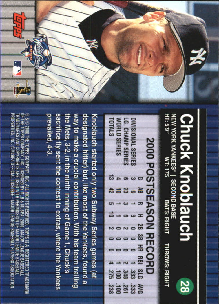 2000 Topps Subway Series #28 Chuck Knoblauch back image