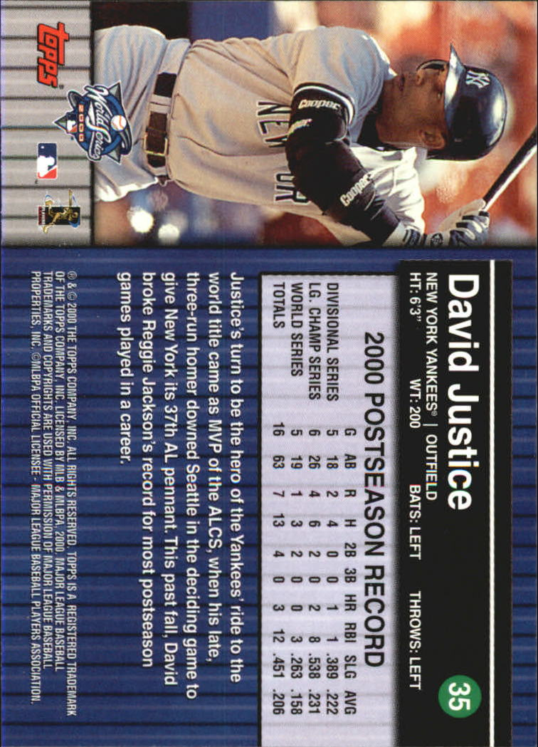 2000 Topps Subway Series #35 David Justice back image