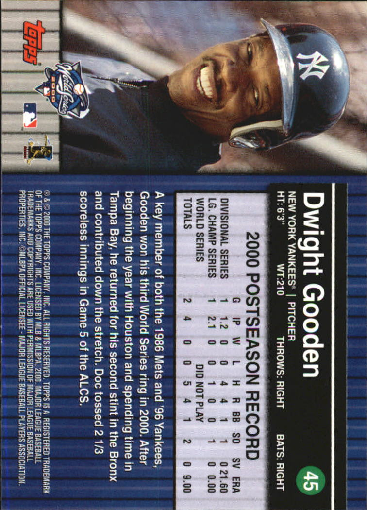 2000 Topps Subway Series #45 Dwight Gooden back image