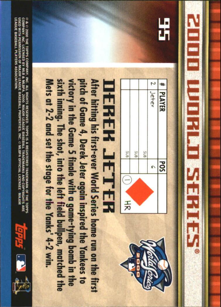 2000 Topps Subway Series #95 Derek Jeter back image