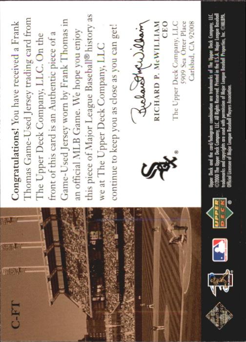 2000 Upper Deck Game Jersey #FT Frank Thomas H1 back image
