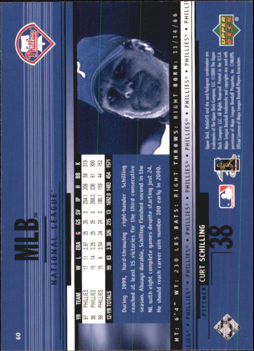 2000 Upper Deck HoloGrFX #60 Curt Schilling back image