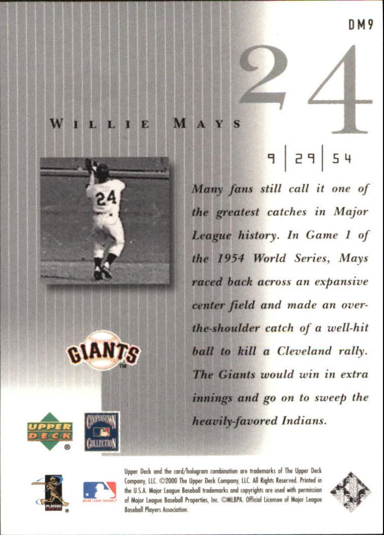 2000 Upper Deck Legends Defining Moments #DM9 Willie Mays back image
