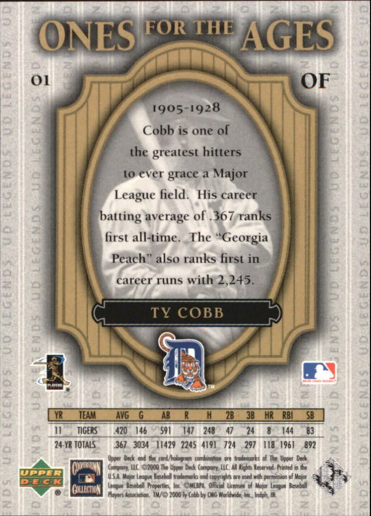 2000 Upper Deck Legends Ones for the Ages #O1 Ty Cobb back image