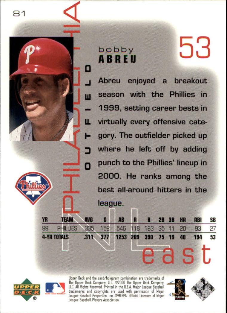 2000 Upper Deck Pros and Prospects #81 Bobby Abreu back image