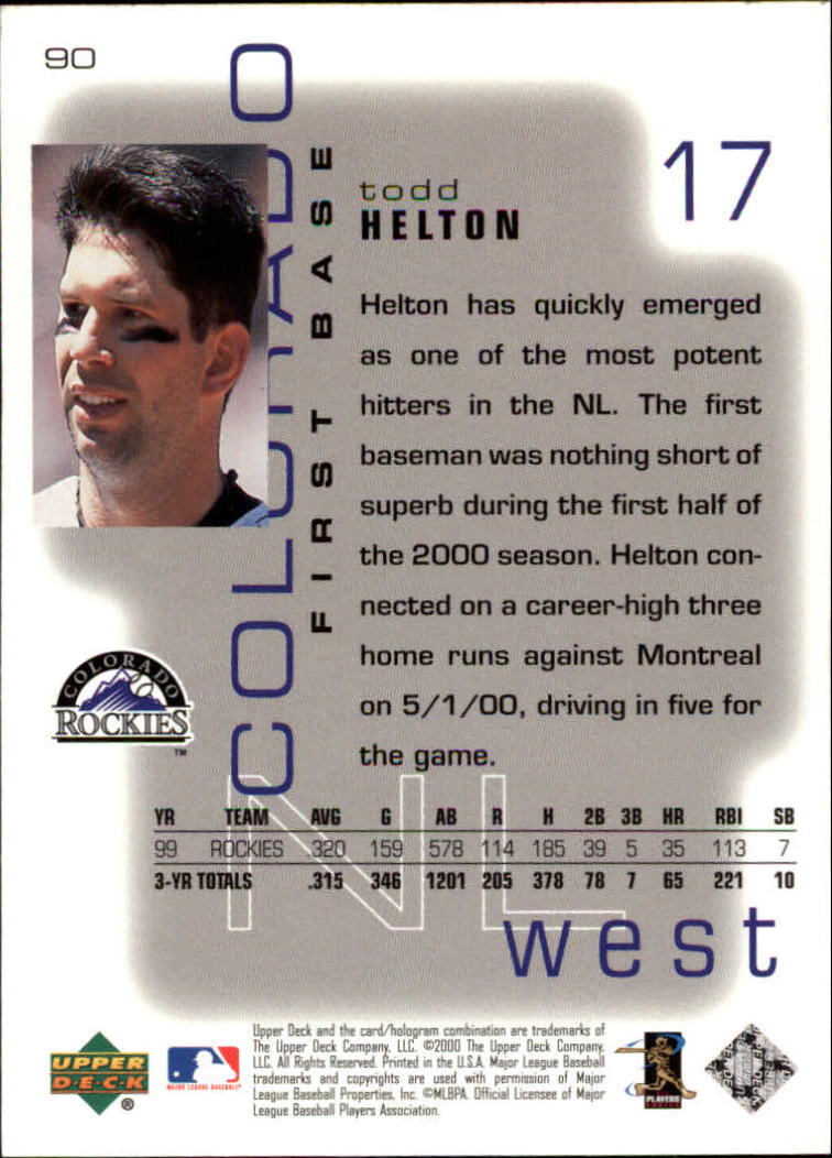 2000 Upper Deck Pros and Prospects #90 Todd Helton back image