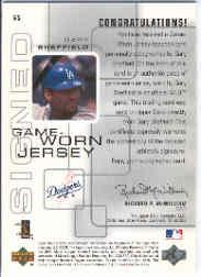 2000 Upper Deck Pros and Prospects Game Jersey Autograph #GS Gary Sheffield back image