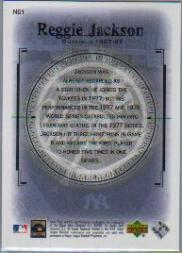 2000 Upper Deck Yankees Legends New Dynasty #ND1 Reggie Jackson back image