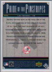 2000 Upper Deck Yankees Legends Pride of the Pinstripes #PP4 Lou Gehrig back image