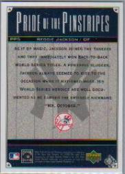 2000 Upper Deck Yankees Legends Pride of the Pinstripes #PP5 Reggie Jackson back image