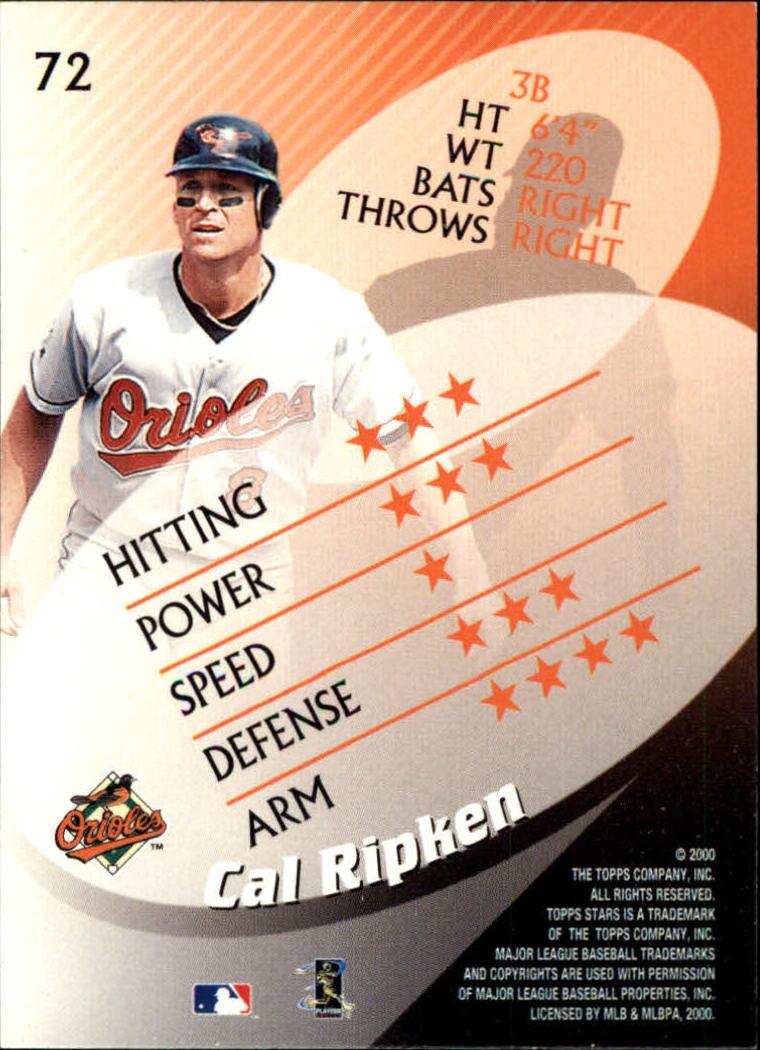 2000 Topps Stars #72 Cal Ripken back image