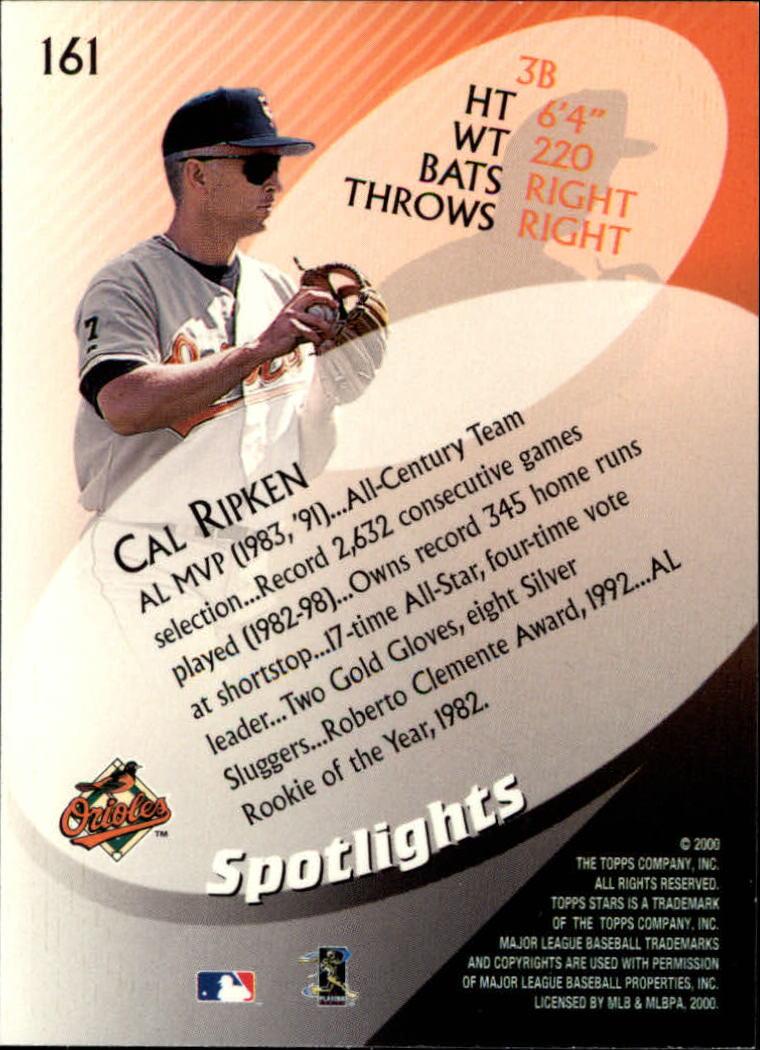 2000 Topps Stars #161 Cal Ripken SPOT back image