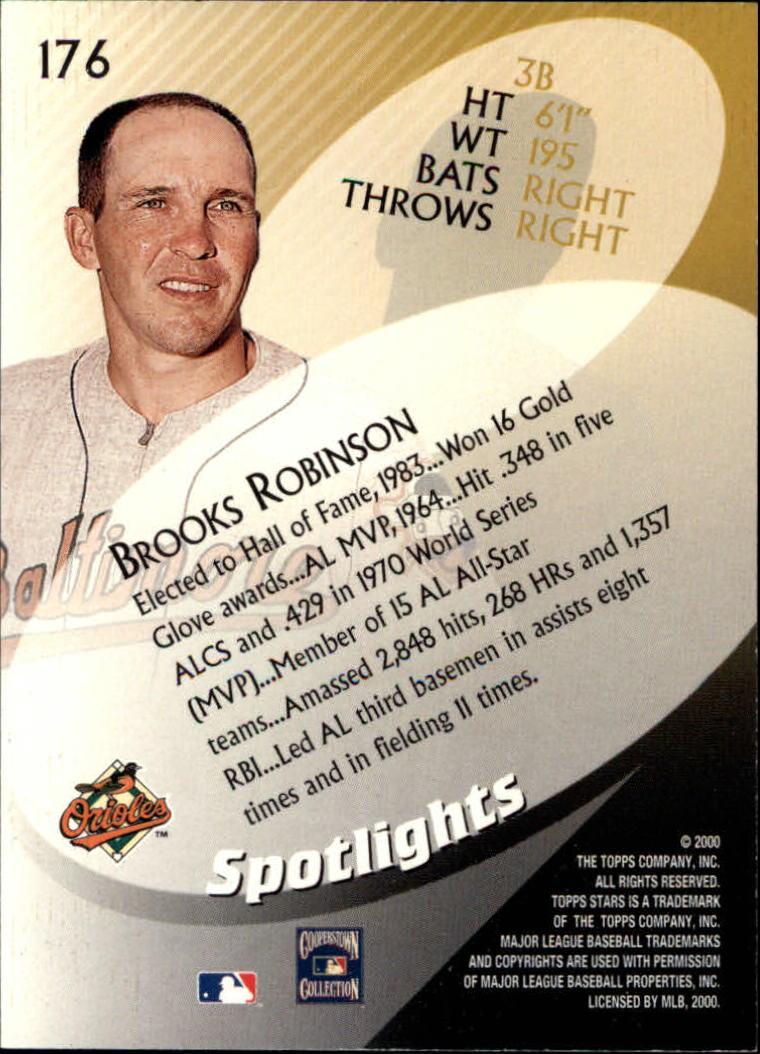 2000 Topps Stars #176 Brooks Robinson SPOT back image