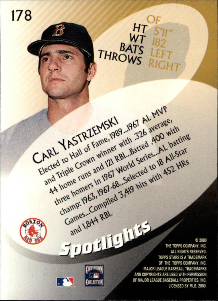 2000 Topps Stars #178 Carl Yastrzemski SPOT back image