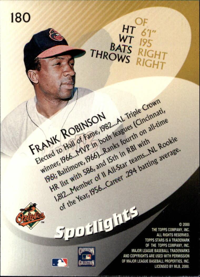 2000 Topps Stars #180 Frank Robinson SPOT back image