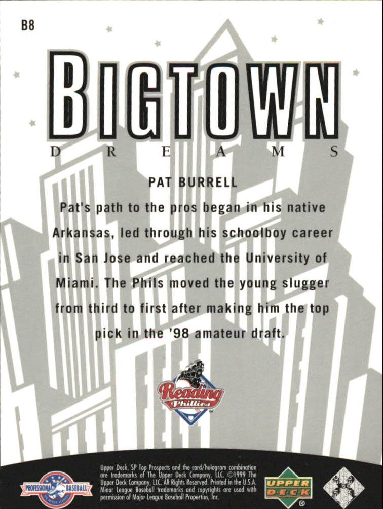 2000 SP Top Prospects Big Town Dreams #B8 Pat Burrell back image