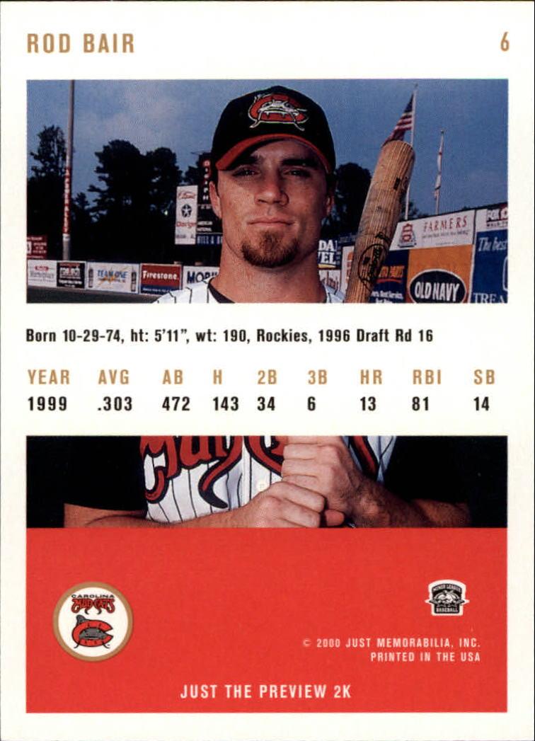 2000 Just #6 Rod Bair back image