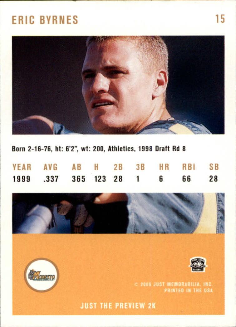 2000 Just #15 Eric Byrnes back image