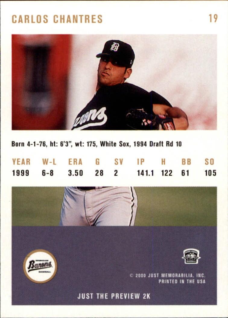 2000 Just #19 Carlos Chantres back image