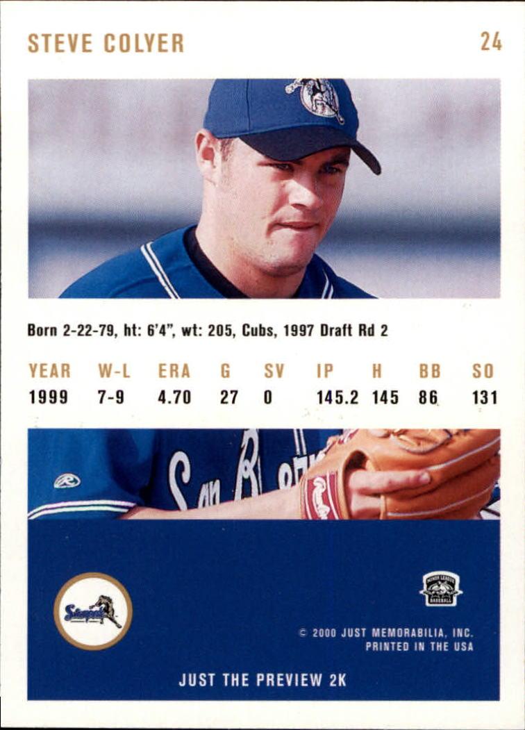 2000 Just #24 Steve Colyer back image