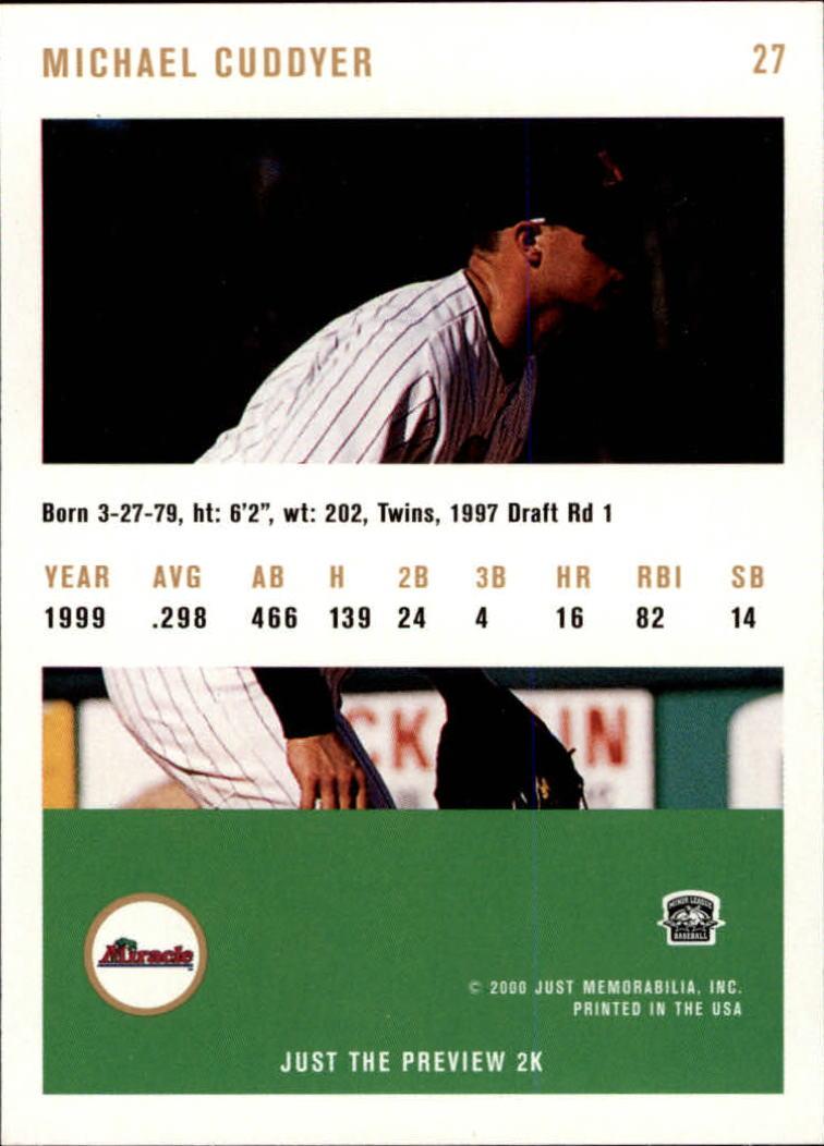 2000 Just #27 Michael Cuddyer back image