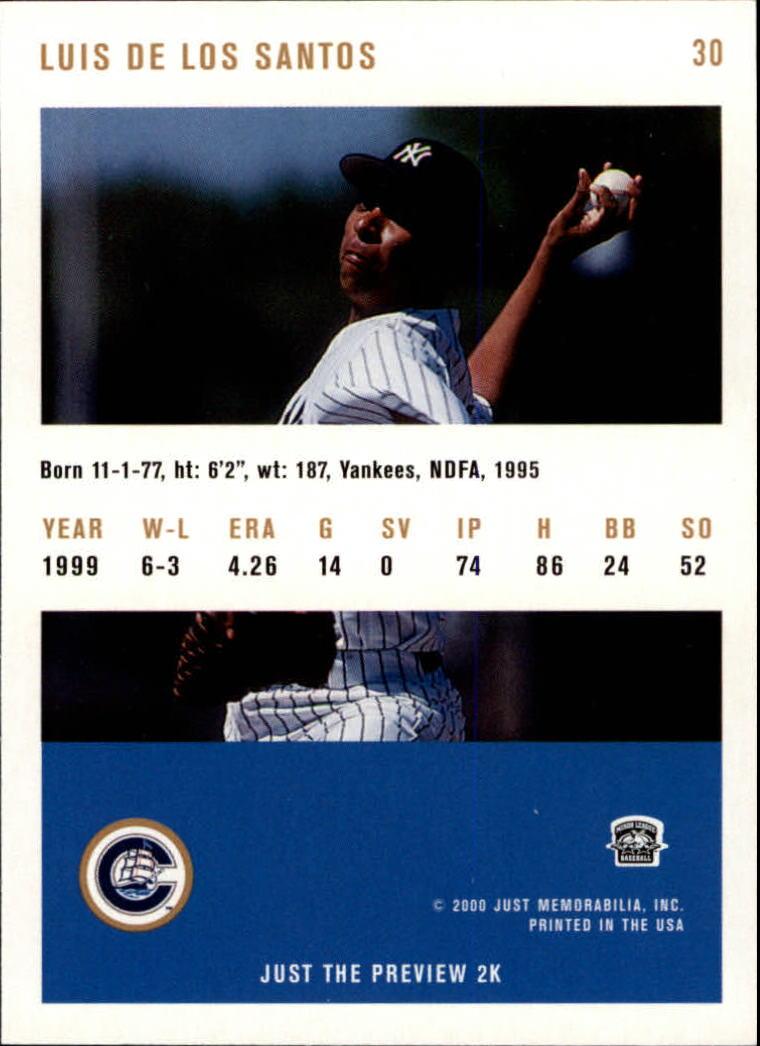 2000 Just #30 Luis De Los Santos back image