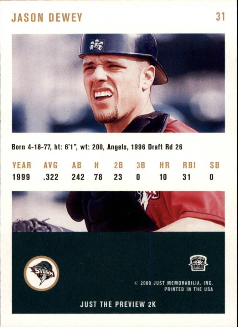 2000 Just #31 Jason Dewey back image