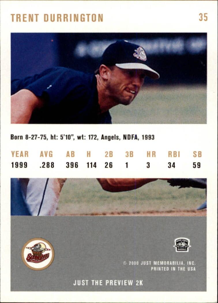 2000 Just #35 Trent Durrington back image