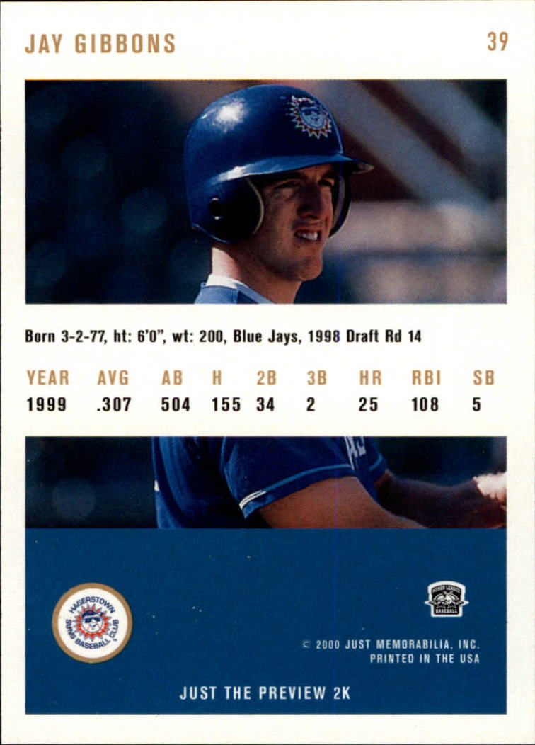 2000 Just #39 Jay Gibbons back image