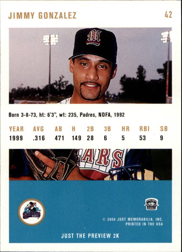 2000 Just #42 Jimmy H.Gonzalez back image