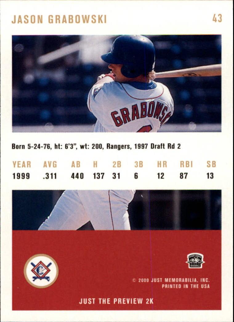 2000 Just #43 Jason Grabowski back image