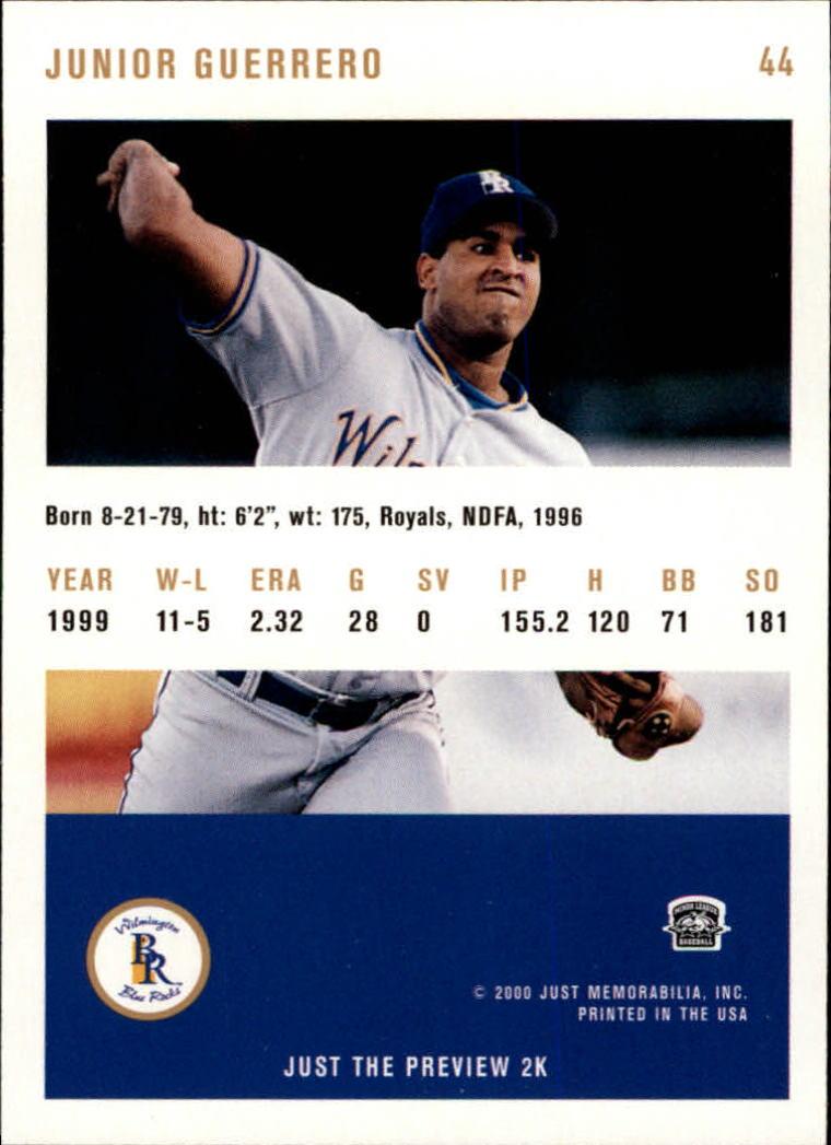 2000 Just #44 Junior Guerrero back image