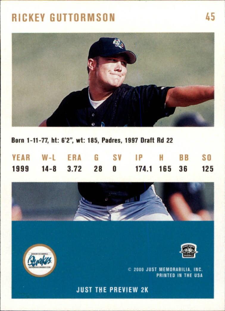 2000 Just #45 Rick Guttormson back image