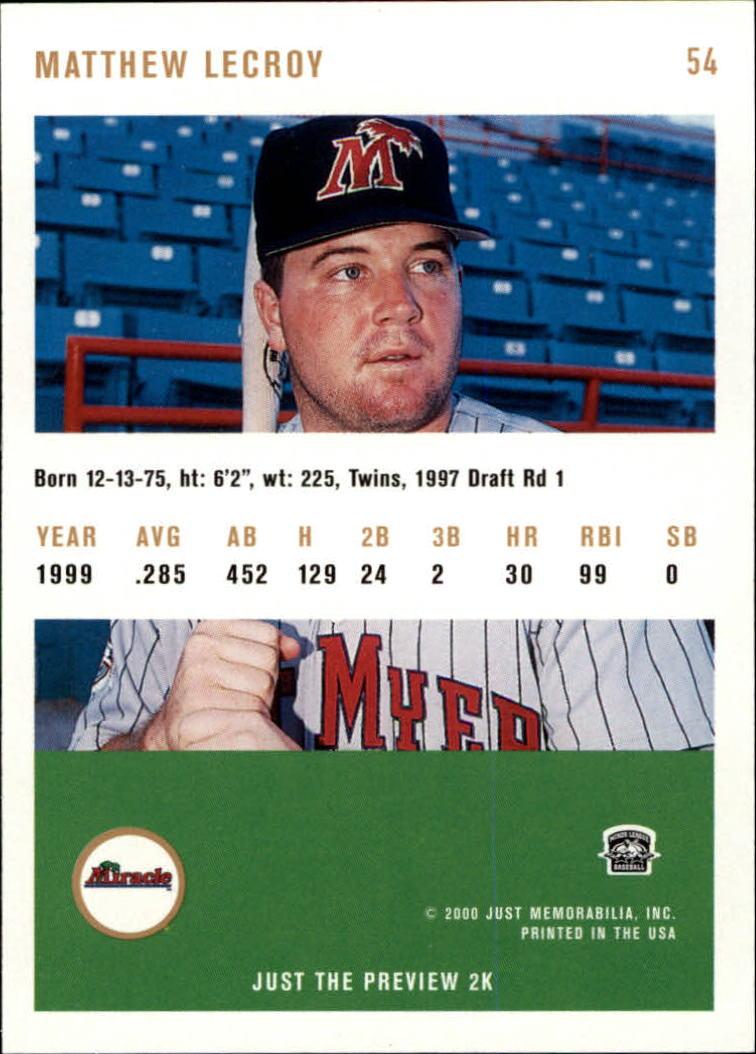 2000 Just #54 Matt LeCroy back image