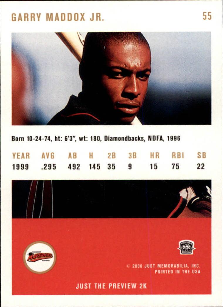 2000 Just #55 Garry Maddox Jr. back image