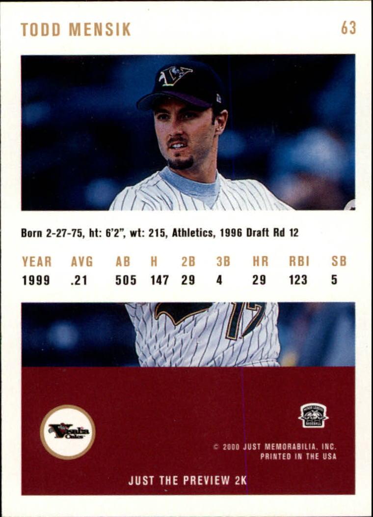 2000 Just #63 Todd Mensik back image