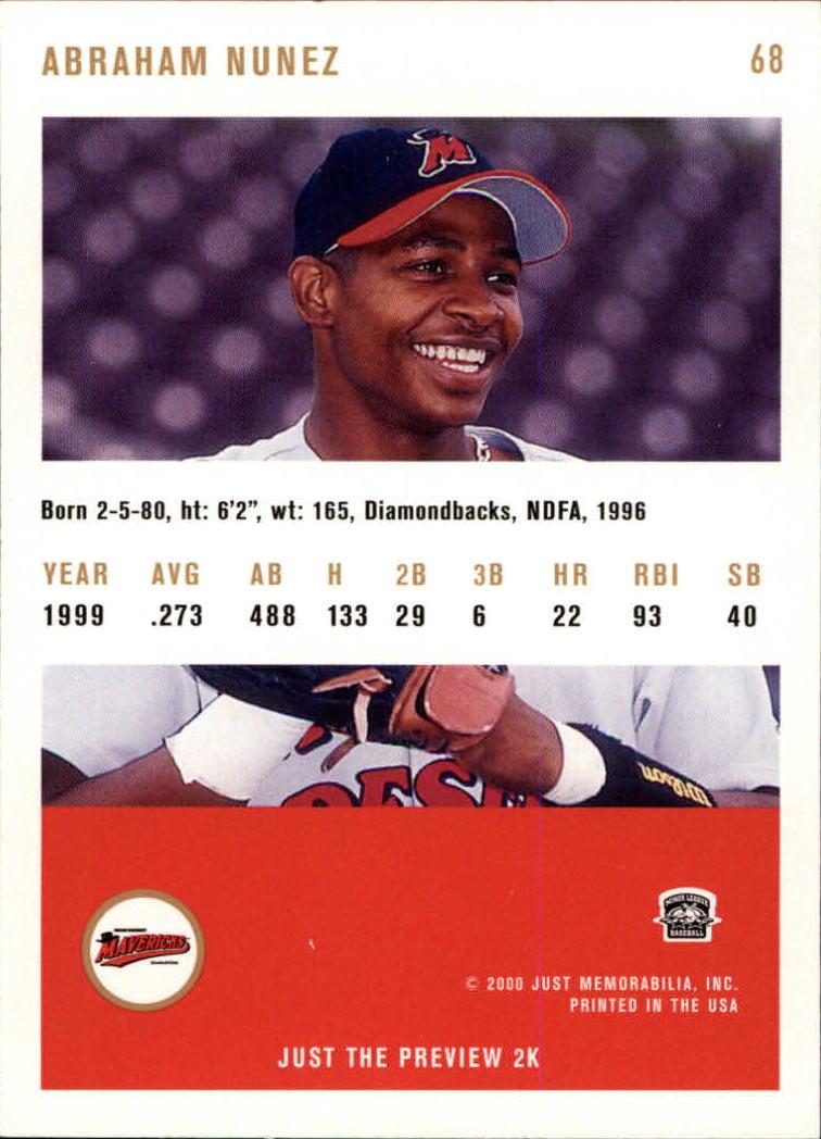 2000 Just #68 Abraham Nunez back image
