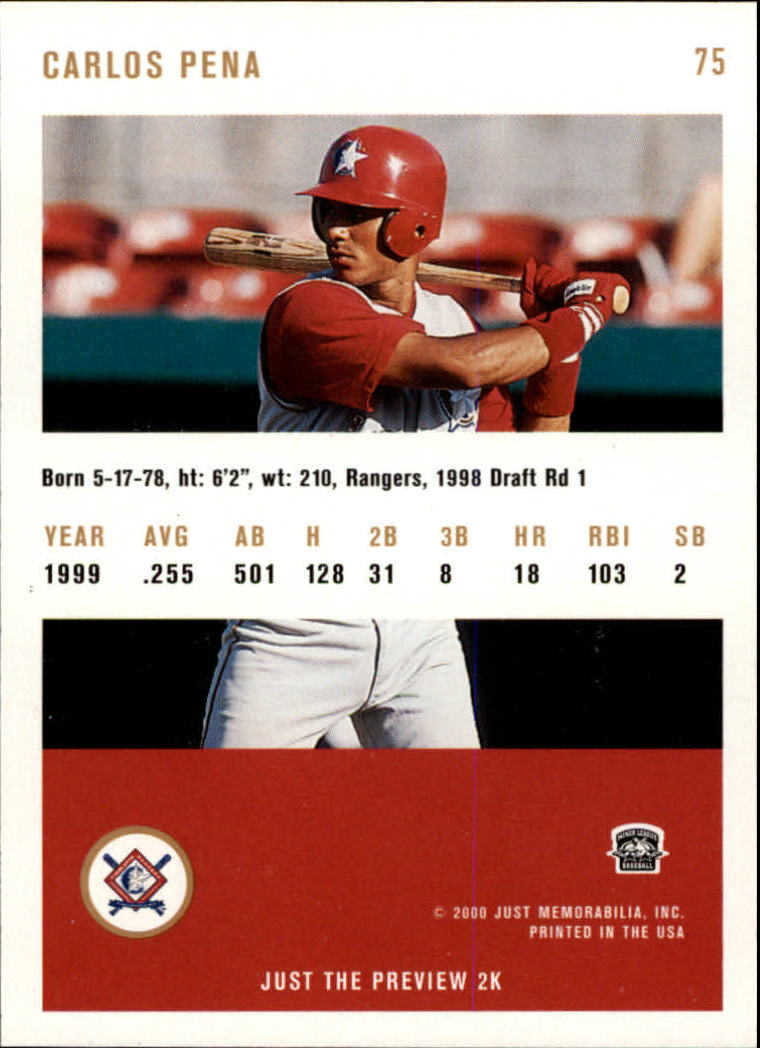 2000 Just #75 Carlos Pena back image