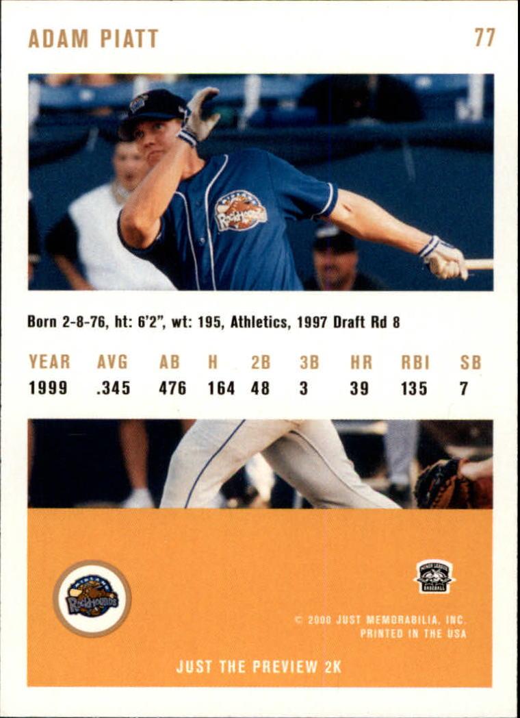 2000 Just #77 Adam Piatt back image