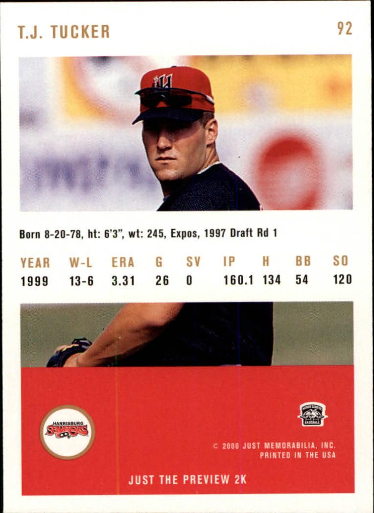 2000 Just #92 T.J. Tucker back image