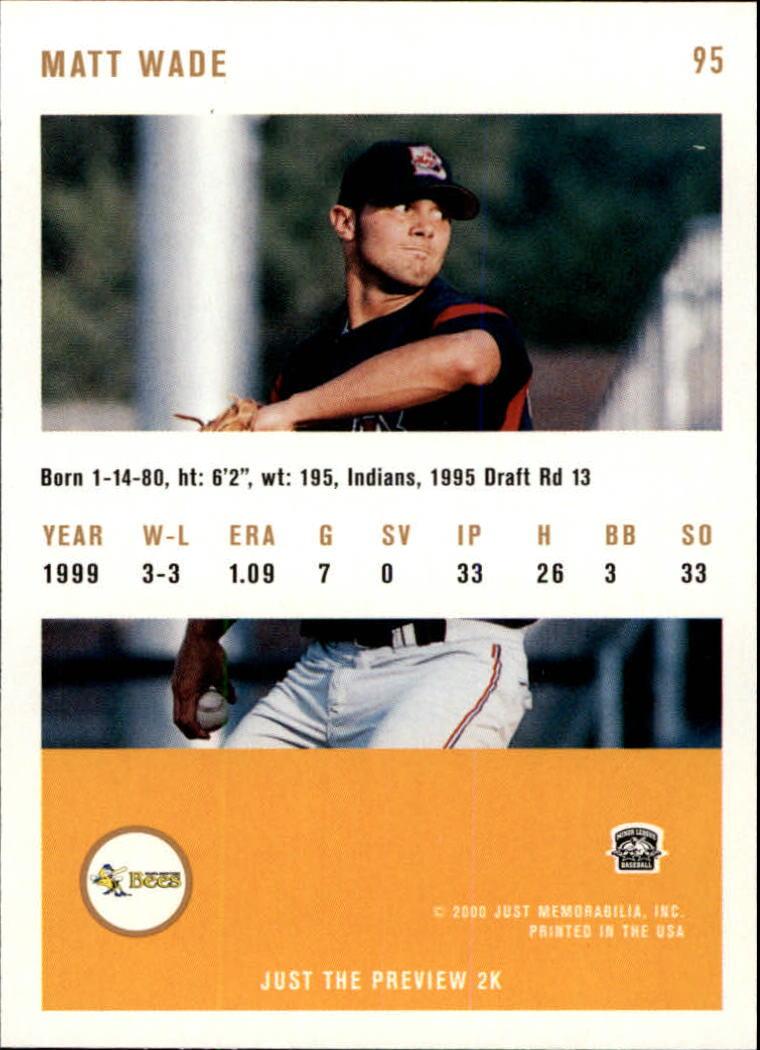 2000 Just #95 Matt Wade back image