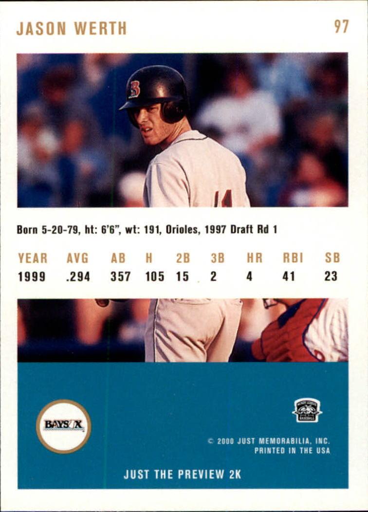 2000 Just #97 Jayson Werth back image