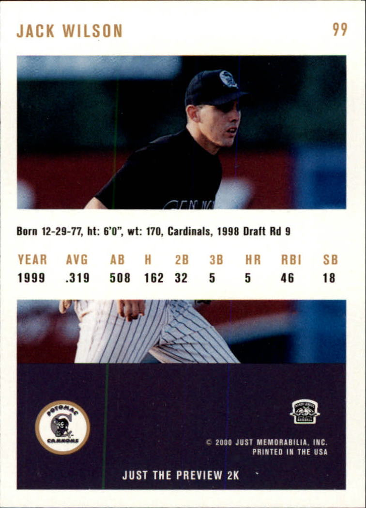 2000 Just #99 Jack Wilson back image