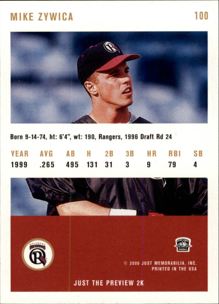 2000 Just #100 Mike Zywica back image