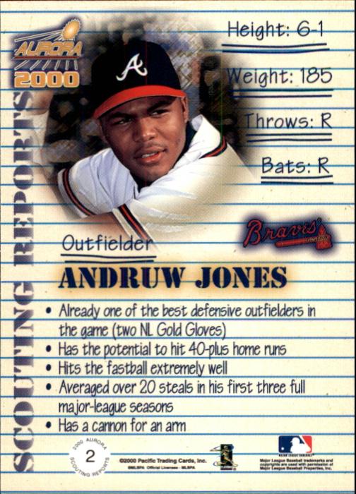 2000 Aurora Scouting Report #2 Andruw Jones back image