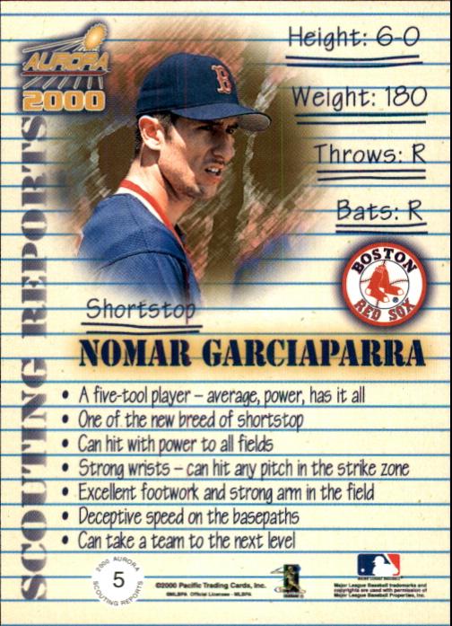 2000 Aurora Scouting Report #5 Nomar Garciaparra back image